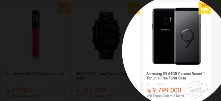 samsung s9 habis terjual flash sale shopee