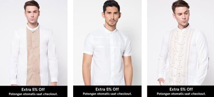 baju koko putih zalora termurah cuci gudang