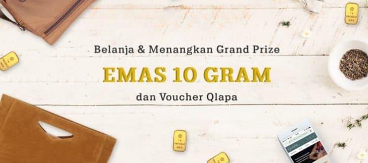 grand prize qlapa hadiah emas dan voucher belanja