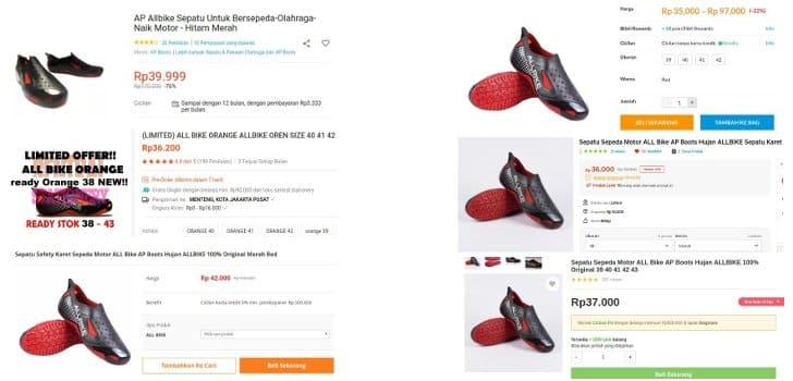 perbandingan harga sepatu all bike ap boots motor