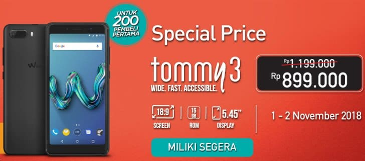 grand launching wiko tommy 3 plus tokopedia