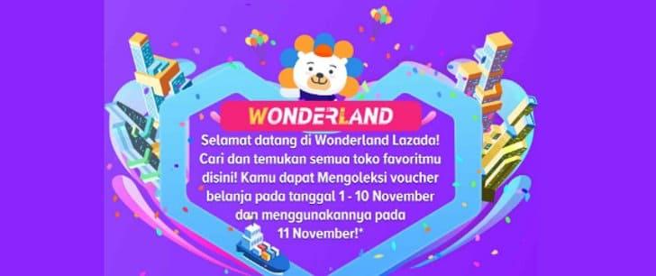 lazada wonderland 11.11 voucher gratis 25 ribu
