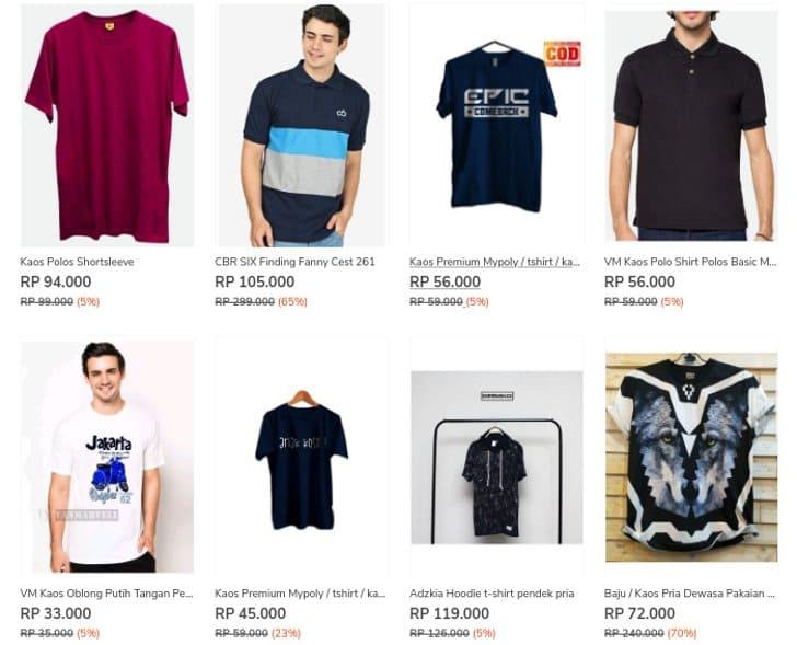 t-shirt dan kaos oblong zilingo murah