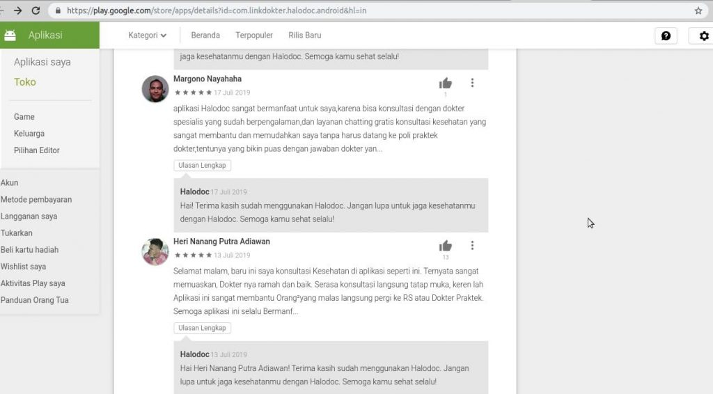 review aplikasi halodoc google play store