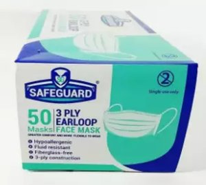 SAFEGUARD 3 Ply Earloop Face Mask