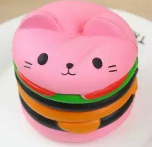 Mainan Squishy Burger Cat
