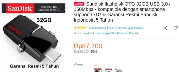 Sandisk Flashdisk OTG 32GB Garansi 5 Tahun