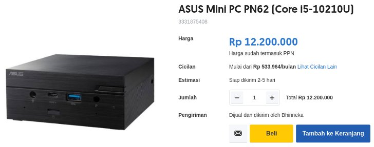 ASUS Mini PC PN62 Core i5-10210U