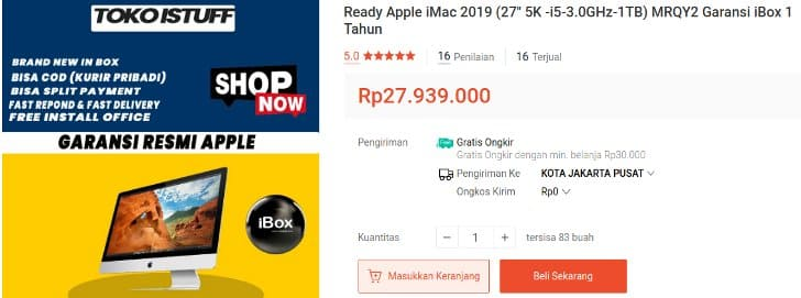 Apple iMac 2019 Garansi iBox Resmi 1 Tahun