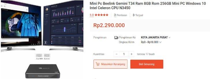 Beelink MiniPC Gemini T34 RAM 8GB