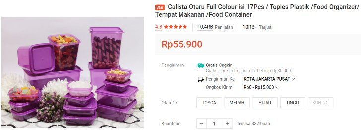 food container kulkas Calista Otaru Isi 17 Pcs