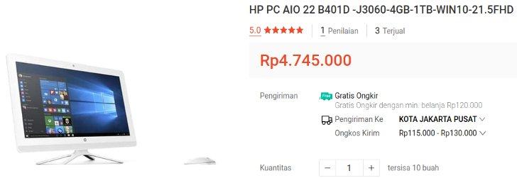HP PC AIO 22 B401D Windows 10 Ori
