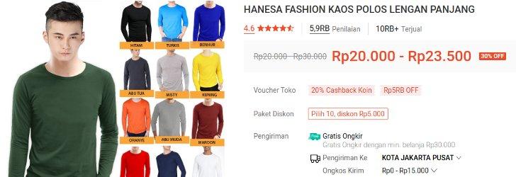 Hanesa Fashion Kaos Polos Lengan Panjang