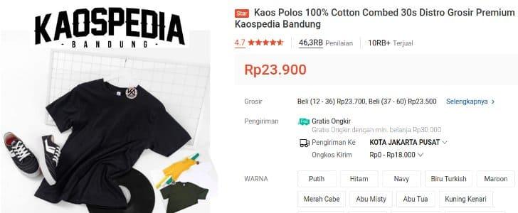Kaospedia Kaos Polos Cotton Combed 30s