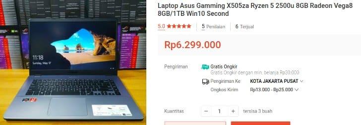 Laptop AMD Ryzen 5 Bekas