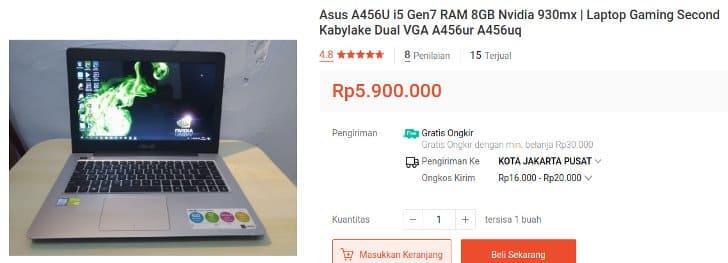 Laptop ASUS i5 Gen 7 Bekas