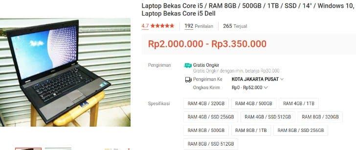 Laptop Bekas Intel Core i5 Merk Dell