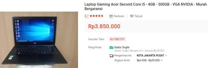 Laptop Gaming Bekas Acer i5 3 Jutaan