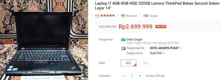 Lenovo Core i7 Bekas 2 Jutaan