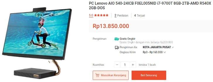 Lenovo PC all in one Core i7 RAM 8GB Baru