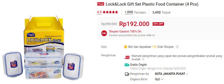 Lock&Lock Gift Set Plastic Food Container