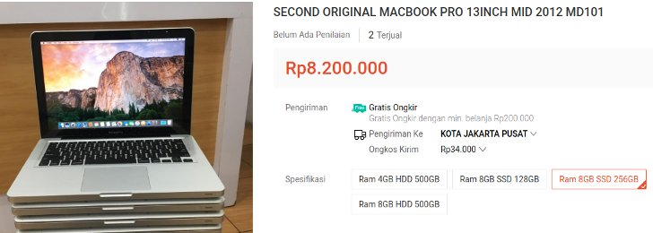 Macbook Pro Termurah 6 Jutaan Second
