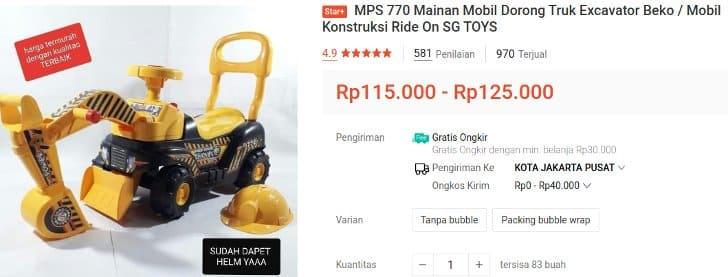 Mainan Excavator Bisa Dinaiki SG Toys MPS 770