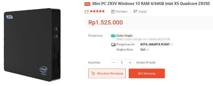 Mini PC Z83 Quad Core Intel AtomX5 Windows 10