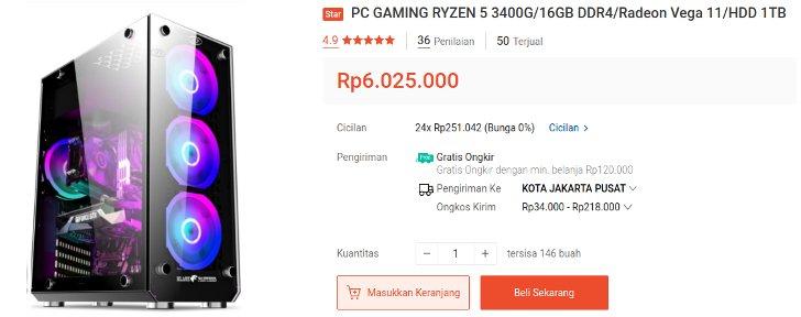 pc gaming dan desain grafis amd ryzen 5 ram 16 gb