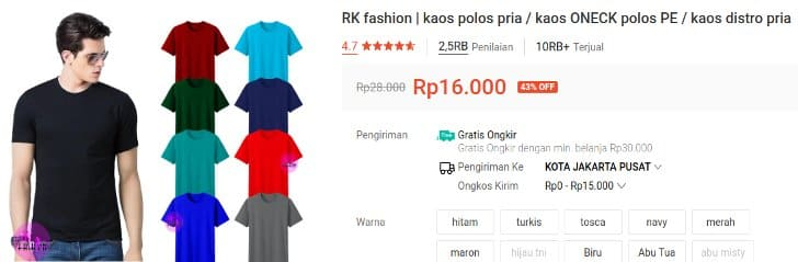 RK Fashion Kaos 10 Ribuan