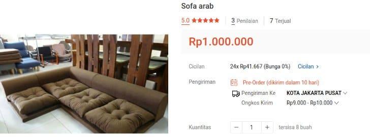 sofa lesehan arab harga per meter