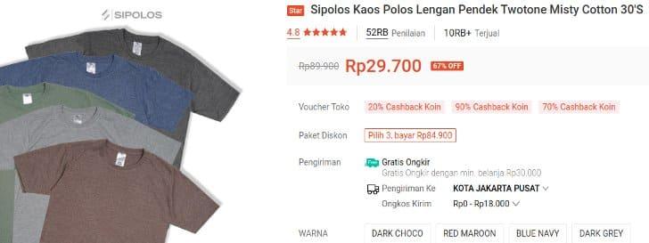 Sipolos Kaos Polos Lengan Pendek Twotone Misty