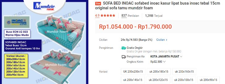 sofa bed inoac busa tebal