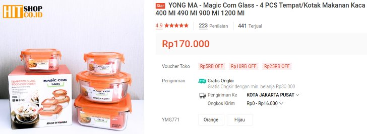 Yong Ma toples bahan Tempered Glass Made In Korea
