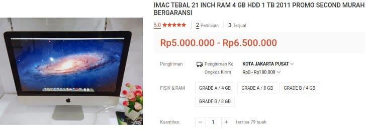 iMac 2011 Bekas RAM 8GB Layar 21 Inch
