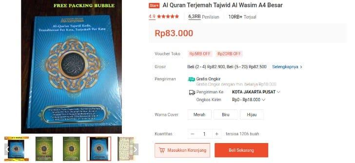 Al Qur'an Al Wasim Besar Tajwid Terjemah Per Kata