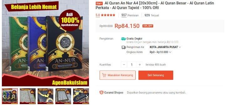 Al Quran An Nur Terbaik Pilihan Pembeli