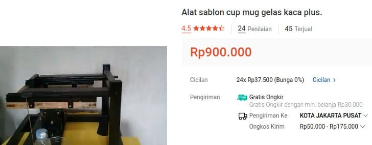 Alat Sablon Cup Harga 1 Jutaan Termurah
