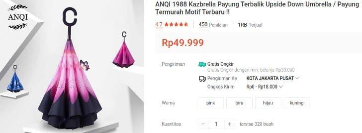 Kazbrella Payung Terbalik Motif Unik Desain Cantik
