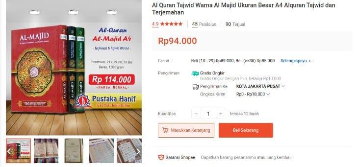 Mushaf Al Quran Al Majid Tajwid Warna Standar Kemenag