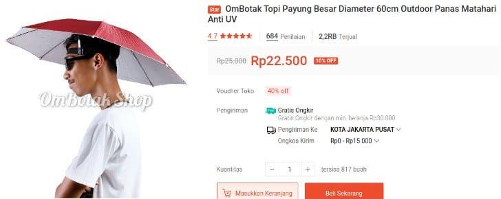 Payung Topi Diameter 60 CM