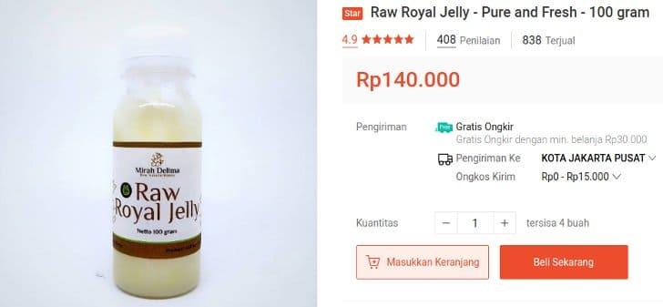 royal jelly cair segar mentah mirah delima