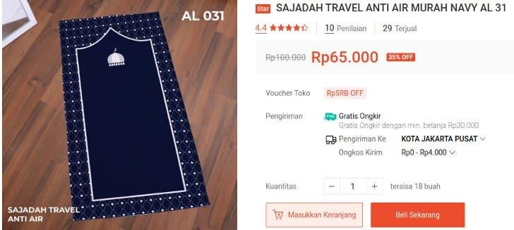 Sajadah Travel Anti Air