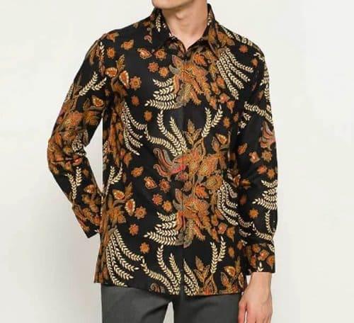 Baju Batik Pria Motif Buket Bunga lengan panjang