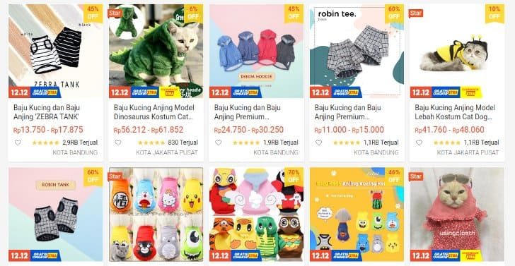 baju kucing shopee harga murah
