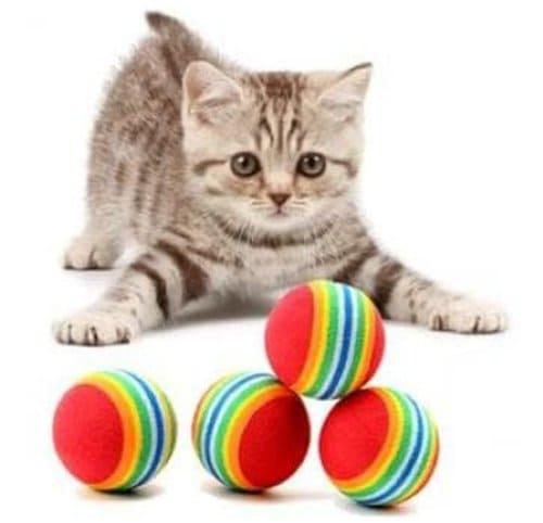 mainan kucing bola pelangi