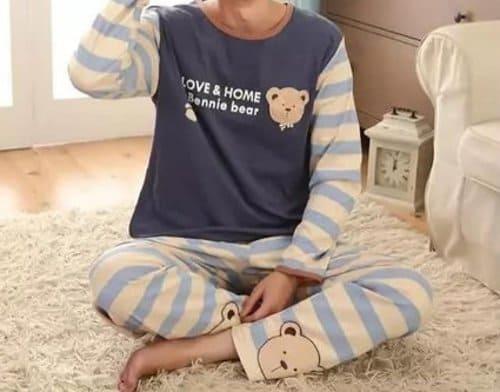 Baju Tidur Pria Salur Bears Blue Motif