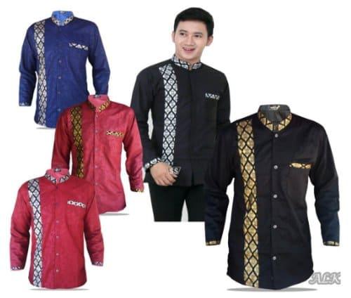 Baju Koko Kombinasi Batik Emas