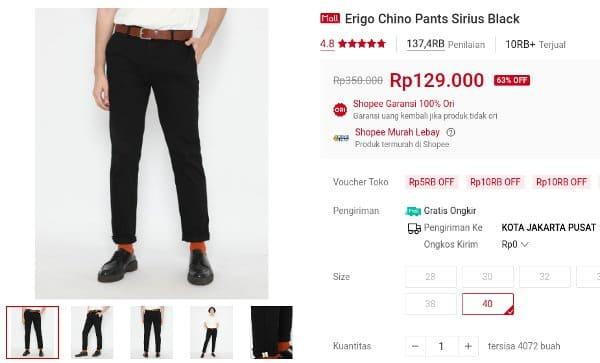 celana chino Erigo Chino Pants Sirius Black