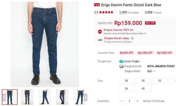 celana jeans Erigo Denim Pants Gizzel Dark Blue